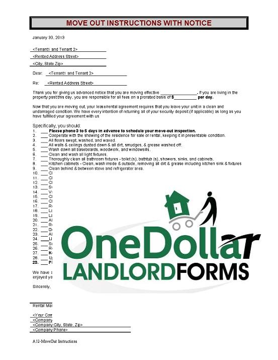 A12 Move Out Instructions Onedollarlandlordforms Rental Lease