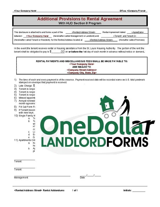 B11 Addendum Section 8 Onedollarlandlordforms Rental Lease