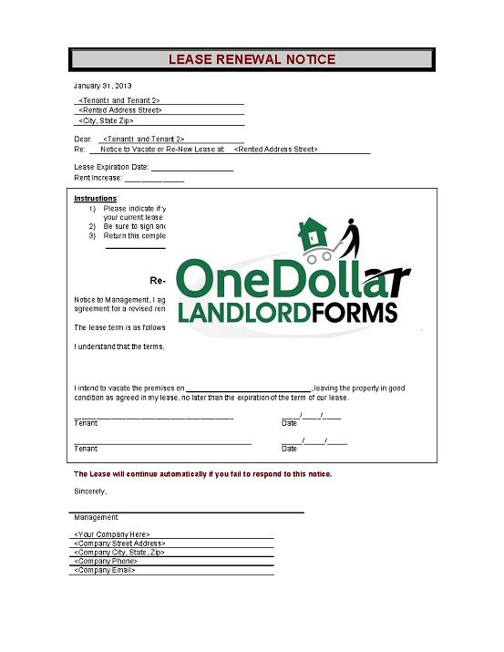 C01-Lease Renewal Notice | Onedollarlandlordforms – Rental Lease