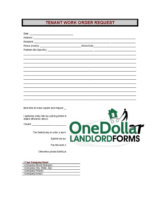 C07-Tenant Work Order Request | Onedollarlandlordforms – Rental